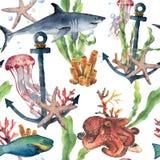 Sömlös modell för vattenfärg med hajen, ankaret och havsdjur Räcka målad plumeria, bläckfisken, manet, parrotfish stock illustrationer
