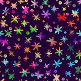 Sömlös modell för vattenfärg med hand drog snöflingor abstrakt borsteslaglängder Färgpulverillustration Regnbåge på violet Royaltyfria Bilder