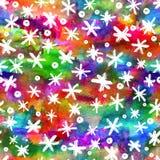 Sömlös modell för vattenfärg med hand drog snöflingor abstrakt borsteslaglängder Färgpulverillustration Vit på regnbågen Arkivfoto