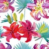 Sömlös modell för vattenfärg med hibiskusblommor och exotiska sidor på vit bakgrund Arkivbilder