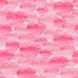 Sömlös modell för vattenfärg med hjärtor på en vit bakgrund för flygillustration för näbb dekorativ bild dess paper stycksvalavat Royaltyfri Fotografi