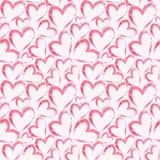 Sömlös modell för vattenfärg med hjärtor på ljus - rosa bakgrund för flygillustration för näbb dekorativ bild dess paper stycksva Fotografering för Bildbyråer