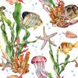 Sömlös modell för vattenfärg med laminariafilialen, korallreven och havsdjur Hand målad manet, sjöstjärna vektor illustrationer