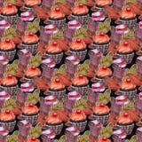 Sömlös modell för vattenfärg med muffin och macarons royaltyfri illustrationer