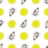 Sömlös modell för vattenfärg med ostron och citronskiva på whi Arkivbild