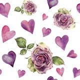 Sömlös modell för vattenfärg med retro rosor och hjärtor Räcka den målade rosa färgprydnaden som isoleras på vit bakgrund stock illustrationer