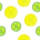 Sömlös modell för vattenfärg med skivor av citronen och limefrukt på whi Royaltyfri Fotografi