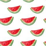 Sömlös modell för vattenfärg med skivor av vattenmelon teckningen hand henne morgonunderkläder upp varmt kvinnabarn Stock Illustrationer