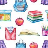 Sömlös modell för vattenfärg med skolämnar stock illustrationer