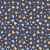 Sömlös modell för vattenfärg med stjärnor, raket, månad stock illustrationer