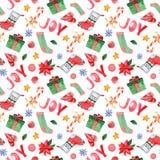 Sömlös modell för vattenfärg med symboler av det lyckliga nya året och juldagen stock illustrationer