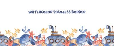 Sömlös modell för vattenfärg med ubåten, undervattens- varelser, snäckskalstenar stock illustrationer