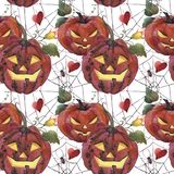Sömlös modell för vattenfärg natt för halloween illustrationmoon Spöklika pumpor med ljusa ögon stock illustrationer
