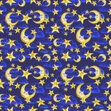 Sömlös modell för vattenfärg på temat av en illustration för barn` s av en bra natt, med månen, månaden och stjärnorna som sover  Arkivbild