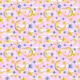 Sömlös modell för vattenfärg på temat av en illustration för barn` s av en bra natt, med månen, månaden och stjärnorna som sover  Royaltyfria Bilder