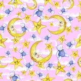 Sömlös modell för vattenfärg på temat av en illustration för barn` s av en bra natt, med månen, månaden och stjärnorna som sover  Fotografering för Bildbyråer