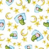 Sömlös modell för vattenfärg på temat av en illustration för barn` s och en bra natt med ett småbarn, runt om de gula stjärnorna Royaltyfri Foto