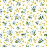 Sömlös modell för vattenfärg på temat av en illustration för barn` s och en bra natt med ett småbarn, runt om de gula stjärnorna Fotografering för Bildbyråer
