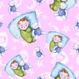 Sömlös modell för vattenfärg på temat av en illustration för barn` s och en bra natt med ett småbarn, runt om de gula stjärnorna Arkivfoton