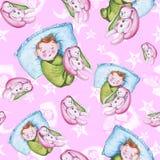 Sömlös modell för vattenfärg på temat av en illustration för barn` s och en bra natt med ett småbarn, runt om de gula stjärnorna Arkivbild