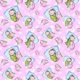 Sömlös modell för vattenfärg på temat av en illustration för barn` s och en bra natt med ett småbarn, runt om de gula stjärnorna Royaltyfria Foton