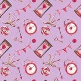 Sömlös modell för vattenfärg för valentin dag med hjärta, tangent, lås, pilbåge, kuvert, förälskelse, godis, pil, blomma stock illustrationer