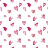 Sömlös modell för vattenfärg för valentin dag med hjärtor stock illustrationer