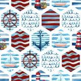 Sömlös modell för vattenfärgaffärsföretag i marin- stil för patchwork stock illustrationer