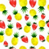 Sömlös modell för för vattenfärgananas och jordgubbe stock illustrationer