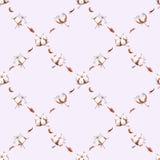 Sömlös modell för vattenfärgbomull på ljus - purpurfärgad backg Royaltyfria Bilder