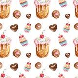 Sömlös modell för vattenfärgefterrätter Handen målade födelsedagen behandlar kakan, caupcake, kakan, chokladgodis arkivfoto