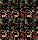 Sömlös modell för vattenfärgjulferie med bär, hjortar, kopia för lyckligt nytt år Tema för nytt år för vinter royaltyfri illustrationer