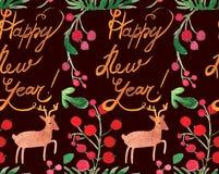 Sömlös modell för vattenfärgjulferie med bär, hjortar och kopian för lyckligt nytt år Tema för nytt år för vinter stock illustrationer