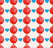 Sömlös modell för vattenfärgjulferie med bollar och hjärtor Tema för nytt år för vinter royaltyfri illustrationer