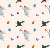 Sömlös modell för vattenfärgjulillustrationer med änglar Tema för nytt år för vinter royaltyfri illustrationer