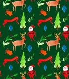 Sömlös modell för vattenfärgjulillustrationer med Santa Claus, hjortar, träd och bär Tema för nytt år för vinter royaltyfri illustrationer