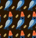 Sömlös modell för vattenfärgjulillustrationer med ugglor i hattar i tumvanten Tema för nytt år för vinter stock illustrationer