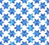 Sömlös modell för vattenfärgsnöflingor vita blåa snowflakes för bakgrund Arkivbild