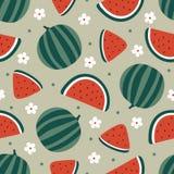 Sömlös modell för vattenmelon med blommor också vektor för coreldrawillustration Arkivfoto