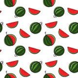 Sömlös modell för vattenmelon vid handteckningen på vita bakgrunder Royaltyfri Bild