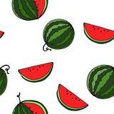 Sömlös modell för vattenmelon vid handteckningen på vita bakgrunder Arkivbilder