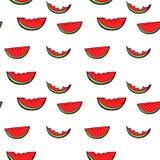Sömlös modell för vattenmelon vid handteckningen på vita bakgrunder Arkivbild