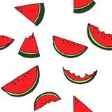 Sömlös modell för vattenmelon vid handteckningen på vita bakgrunder Royaltyfri Foto