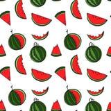 Sömlös modell för vattenmelon vid handteckningen på vita bakgrunder Royaltyfri Fotografi