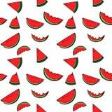 Sömlös modell för vattenmelon vid handteckningen på vita bakgrunder Fotografering för Bildbyråer