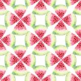 Sömlös modell för vattenmelonvattenfärg Modern matillustration Textiltryckdesign Royaltyfria Bilder