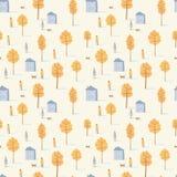 Sömlös modell för vektor av att gå folk med hundkapplöpning bland gula träd och hus asters magentafärgade många för höst moodpink royaltyfria bilder