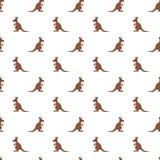 Sömlös modell för vektor av den gulliga kängurun på vit bakgrund royaltyfri bild