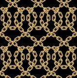 Sömlös modell för vektor av guld- kedjor Arkivfoto