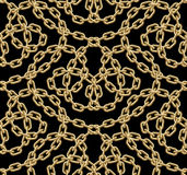 Sömlös modell för vektor av guld- kedjor Royaltyfria Bilder
